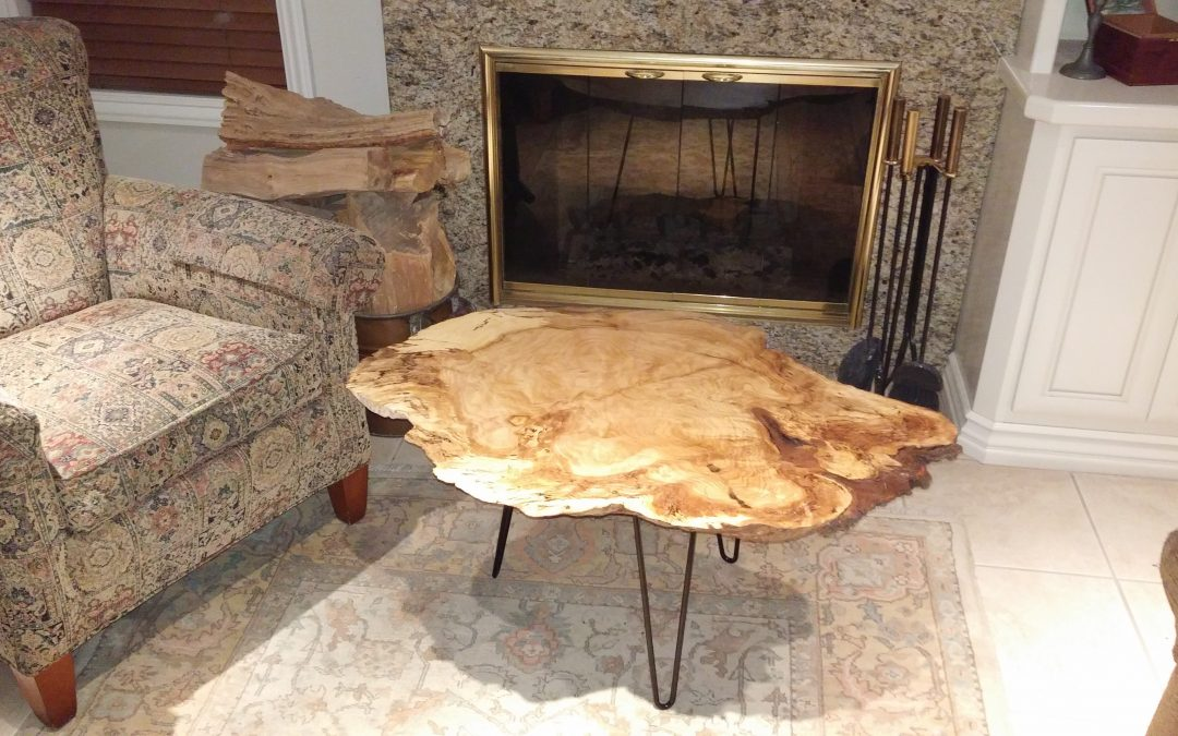 Small Oak Burl Coffee Table